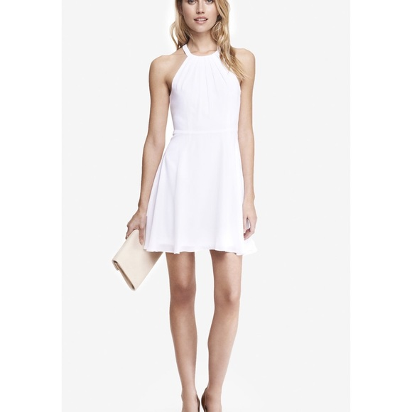 d622952ee016 Express Dresses | Flowy White Halter Top Dress | Poshmark